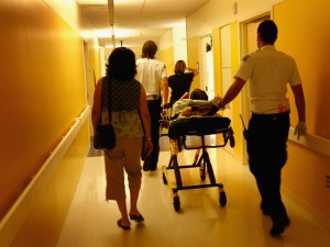 Patient being wheeled into an ER