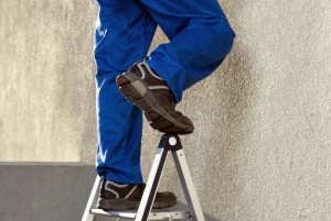 Feet on ladder - accident waiting to happen