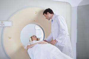 Woman undergoing MRI