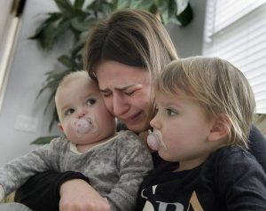 Nataliya Kondratyuk 22, with her two daughters Maya Kondratyuk 11 months, left, and Vanessa Kondratyuk 2, at a relative's home in Antelope on Tuesday, January 31, 2017. Nataliya's husband Vadim Kondratyuk, 26, died recently of complications from a dental infection. Randall Benton