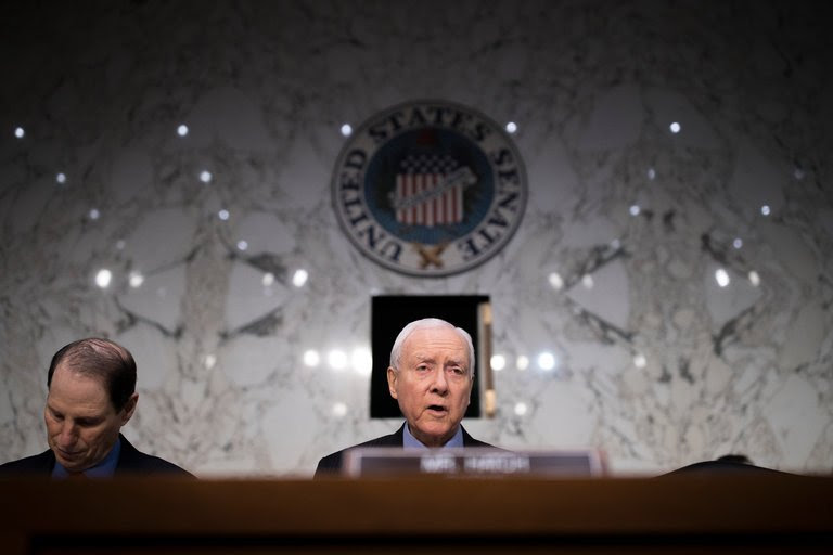 Senator Orrin G. Hatch, Republican of Utah, delivered opening remarks Tuesday during a Senate Finance Committee hearing. CreditTom Brenner/The New York Times