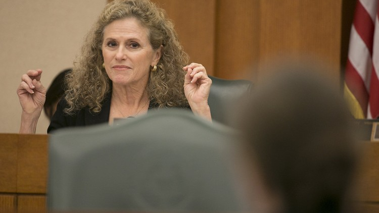 State Rep. Donna Howard, D-Austin, listens to Brian Guthrie, executive director of the Teacher Retirement System of Texas, answer a question during a hearing of a House Approprations Subcommittee on Wednesday. In 2018, about 36,000 retired Texas teachers and their dependents opted out of the state health insurance program run by the system after increases to premiums and deductibles. RALPH BARRERA / AMERICAN-STATESMAN